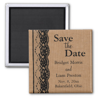 Black Lace &  Burlap Save the Date Square Magnet