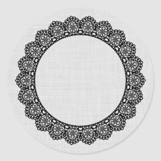 BLACK Lace Circle Style 4 Silver Background B02 Round Sticker