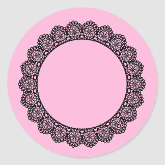 Black Lace Circle Style 7 Pink Background A07 Round Sticker
