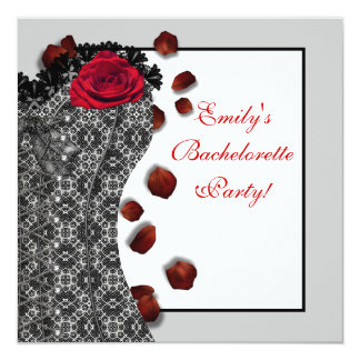 Black Lace Corset Red High Heel Bachelorette Party 13 Cm X 13 Cm Square Invitation Card