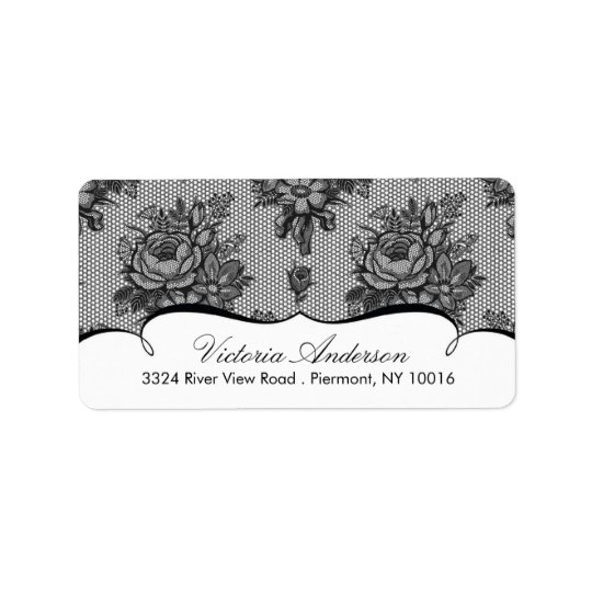 Black Lace Damask Return Address Labels. Label