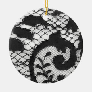Black lace fabric detail Gothic goth Christmas Ornament