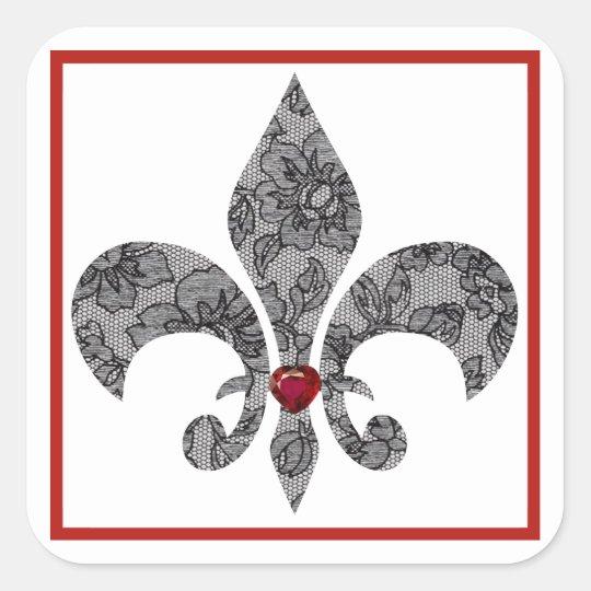 Black Lace Fleur De Lis Square Sticker