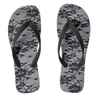 Black Lace Flip Flops