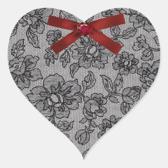 Black Lace Heart Heart Sticker