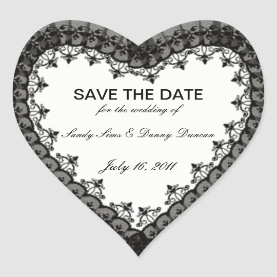 Black Lace Heart Save The Date Stickers