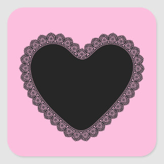 Black Lace Heart Style 2 Pink Background A02 Square Sticker