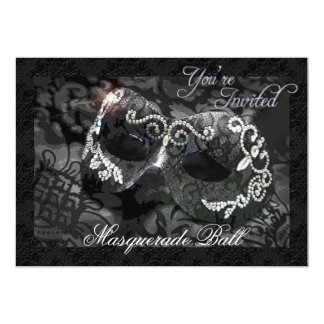 "Black Lace Mask Jeweled Masquerade Ball Invitation 5"" X 7"" Invitation Card"