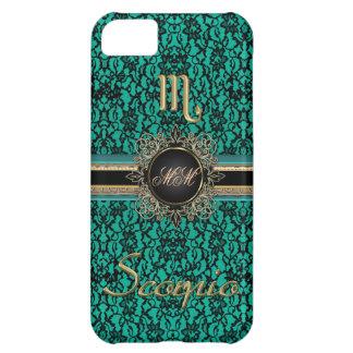 Black Lace on Green Monogrammed Scorpio Case iPhone 5C Case