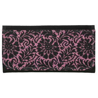 Black lace on pink leather wallet