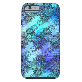Black Lace over Soft Blue Patterned Glass Tough iPhone 6 Case