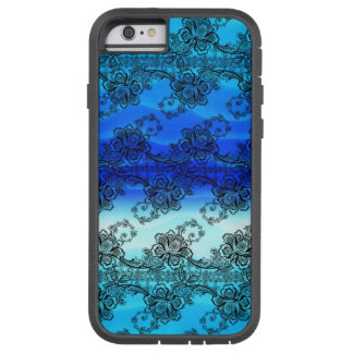 Black Lace Over Waves of Blue Tough Xtreme iPhone 6 Case