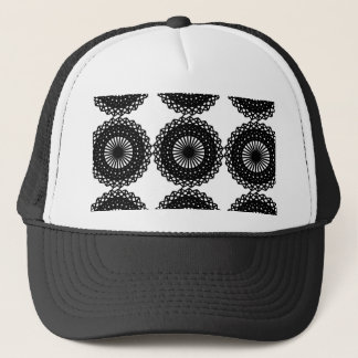 Black Lace Pattern Design. Custom Trucker Hat