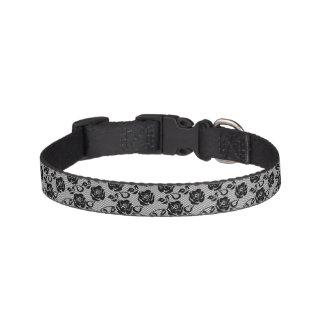 Black lace pattern on white background pet collar