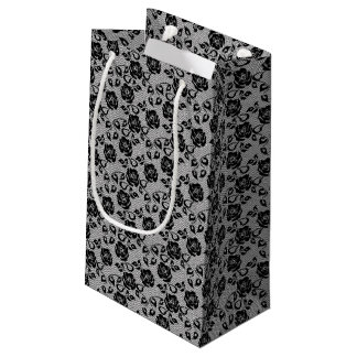 Black lace pattern on white background small gift bag
