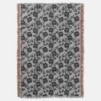 Black lace pattern on white background throw blanket