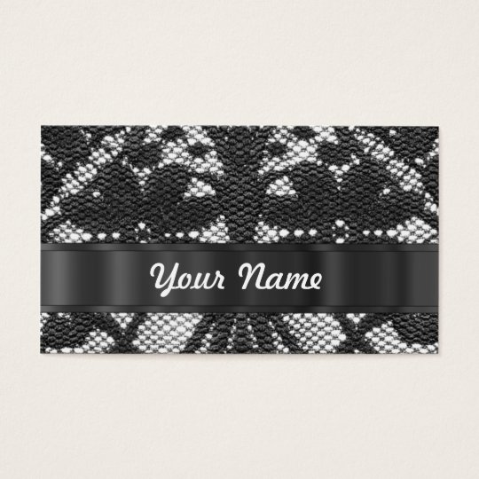 Black lace personalised business card