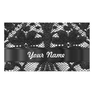 Black lace personalized business card template