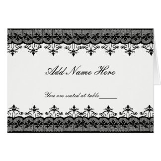 Black Lace Place Cards Note Card