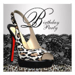 Black Lace Red Leopard Birthday Party Invitations