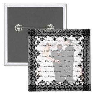 Black Lace Square Photo Button
