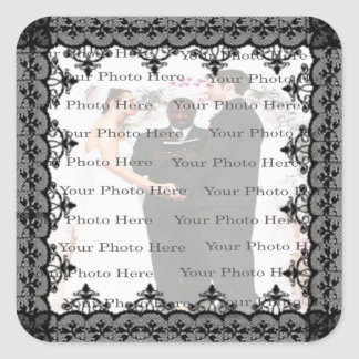Black Lace Square Photo Stickers