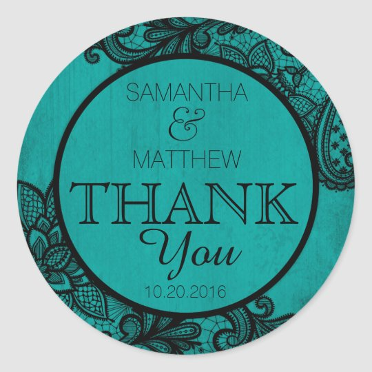 Black Lace Teal Modern Goth Thank You Label