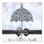 Black Lace Umbrella Purple Baby Sprinkle   Shower Invitations