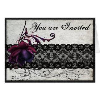 Black Lace Wedding Invitation Greeting Card