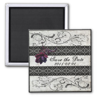 Black Lace Wedding Save the Date Magnets
