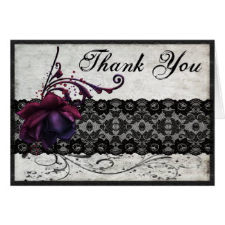Black Lace Wedding Thank You Cards