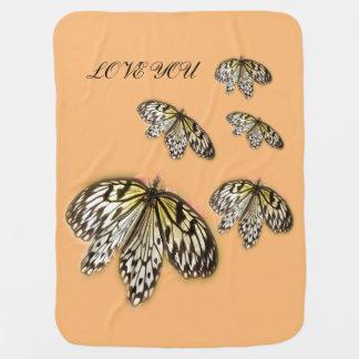 Black Laced Butterflies Baby Blanket