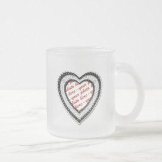 Black Laced Heart Photo Frame Coffee Mug