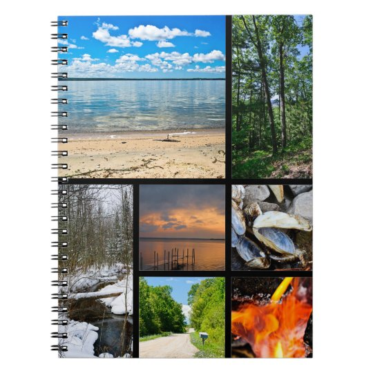 Black Lake Scenes Photography Collage Notebook