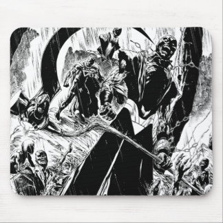 Black Lantern Corps Panel - Black and White Mouse Pad