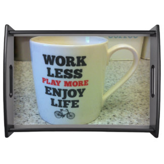 Black Large Serving Tray with a mug decoration