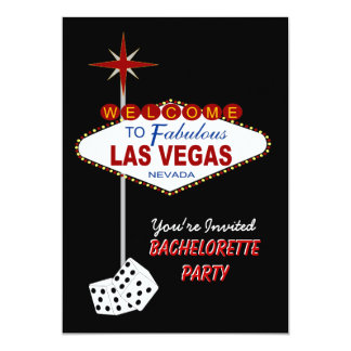 "Black Las Vegas Bachelorette Party Invitation 5"" X 7"" Invitation Card"