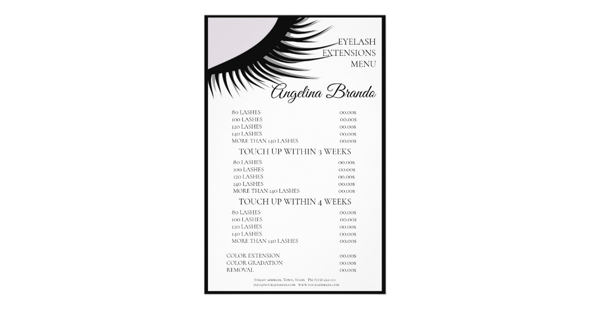 Black Lashes Eyelash Extensions White Price List Flyer