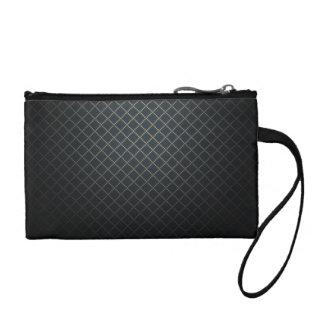 Black Lattice Pattern Coin Wristlet / Bag