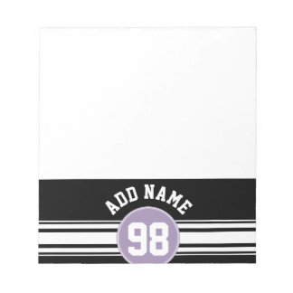 Black & Lavender Sports Jersey Custom Name Number Notepad