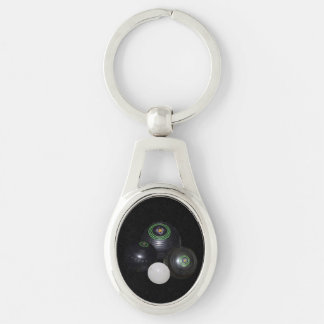 Black Lawn Bowls And Kitty Oval Metal Keyring