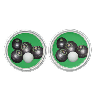 Black Lawn Bowls And Kitty, Silver Cufflinks. Cufflinks
