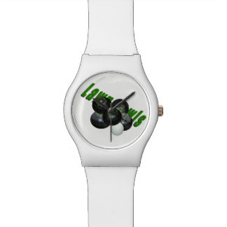 Black Lawn Bowls And Logo, Ladies White May Watch