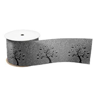 Black Leafy Tree Illustration with Silver Paisley Satin Ribbon