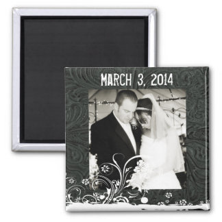 Black Leather and Lace Photo Save the Date Magnet