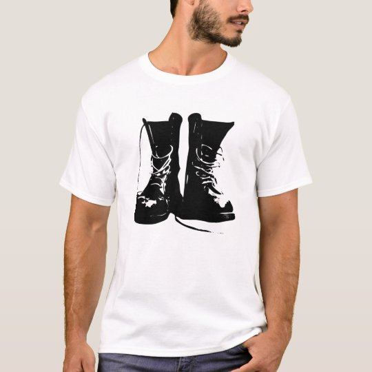 Black Leather Combat Boots Laces T-Shirt