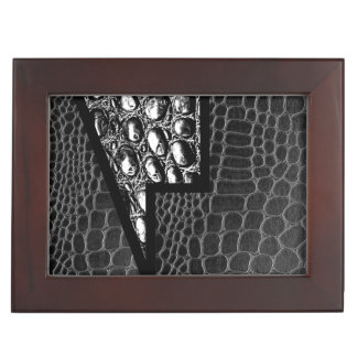 Black Leather Crocodile Abstract Memory Boxes