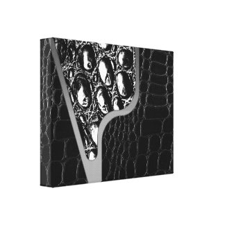Black Leather Crocodile Texture Canvas Print