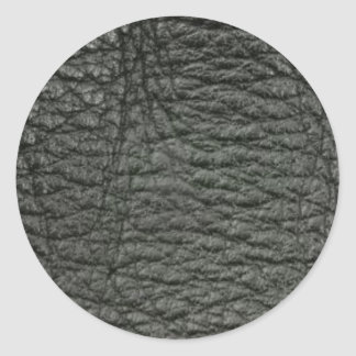 Black Leather Effect Round Sticker