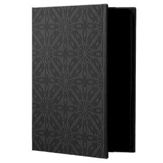 Black Leather Geometric Embossed Design